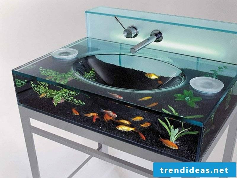 small aquarium in the sink