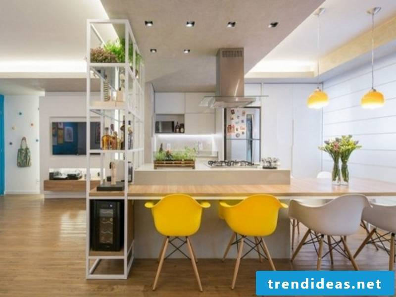 yellow chairs in the kitchen
