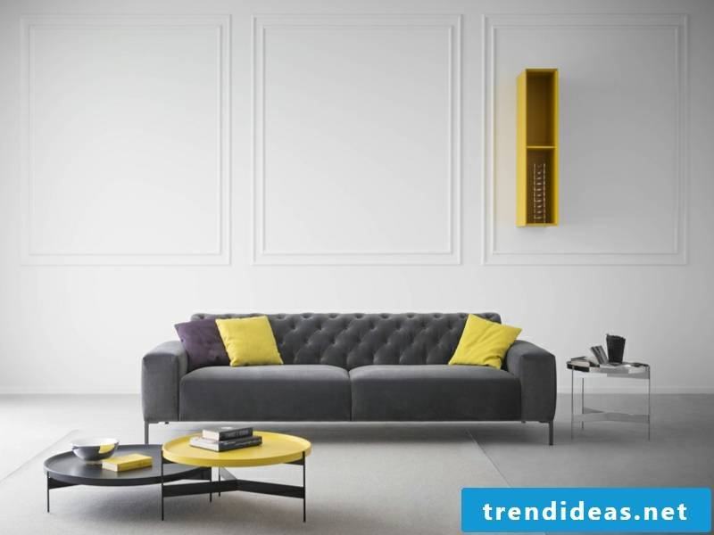 yellow table and yellow pillows