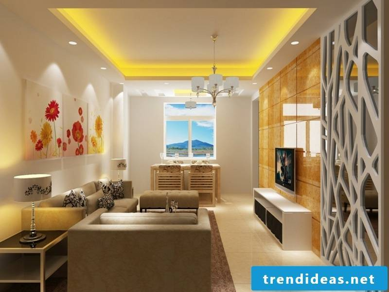 yellow lighting on the ceiling