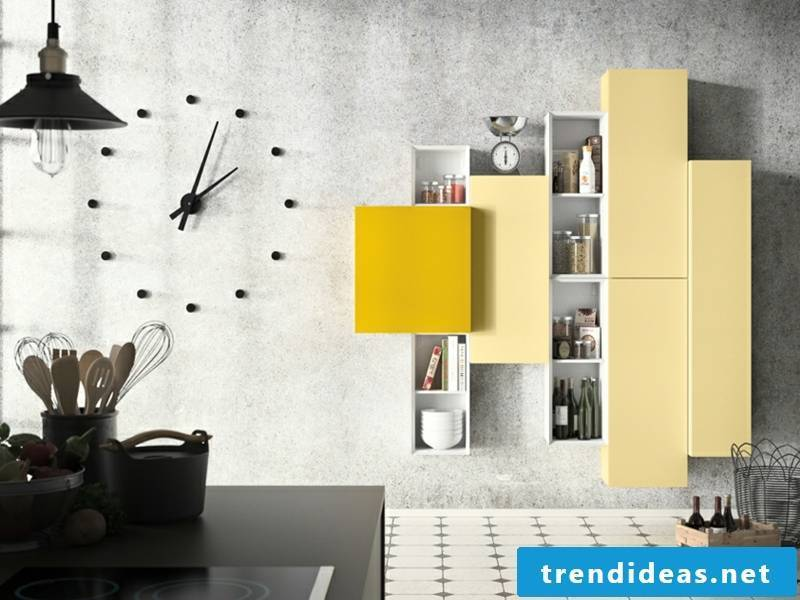 Cabinet in different yellow tones