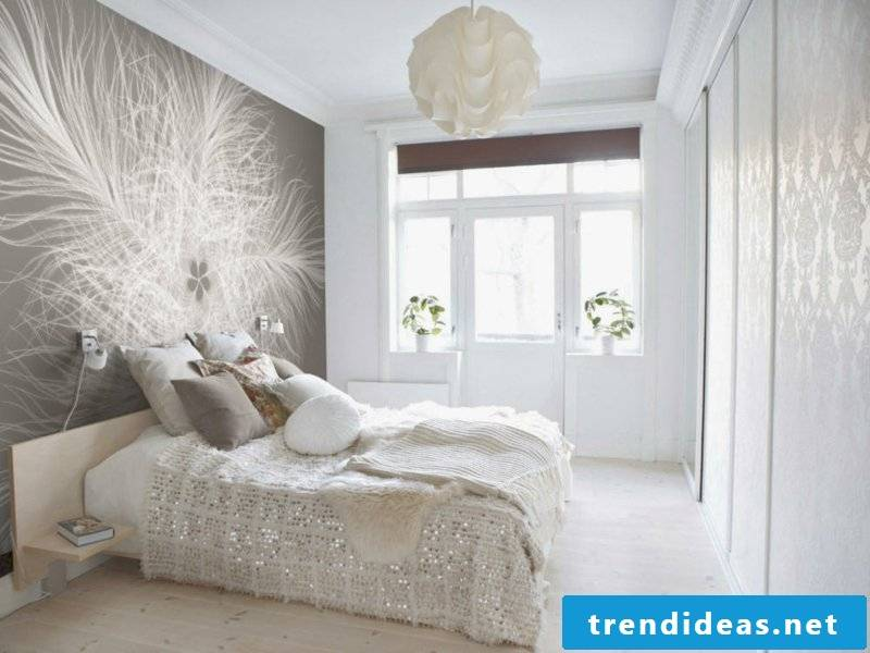 white decoration and modern wallpaper