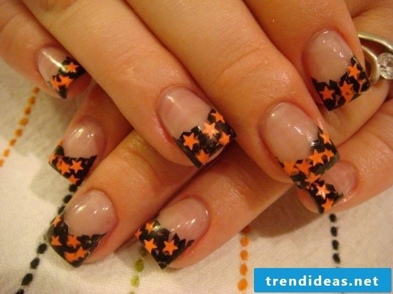 Asterisks French Nails Nail art design Halloween pattern