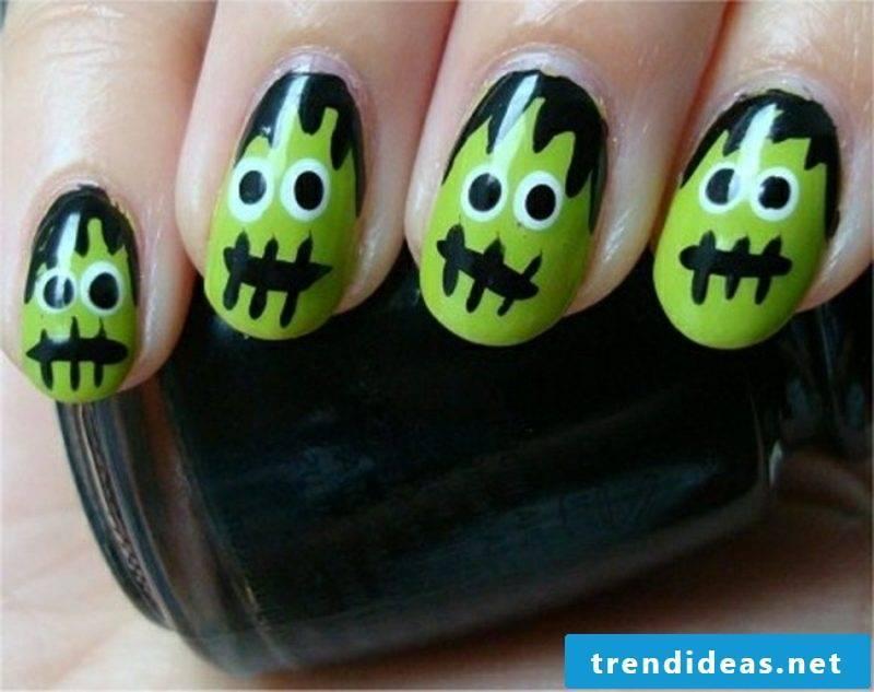 Zombie nails Halloween neon colors
