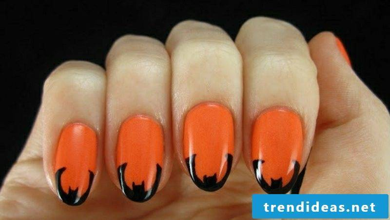French manicure bat nail design ideas for Halloween
