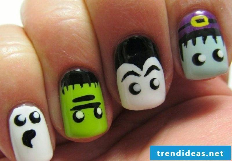 funny faces nail design pattern halloween