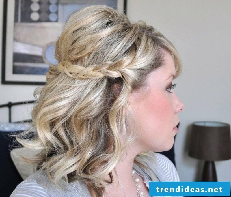 half-open hairstyle with elegant braid