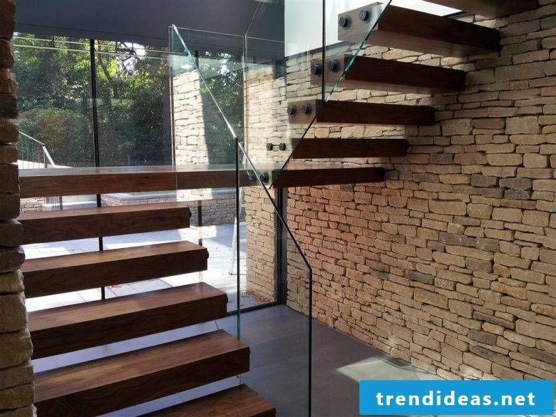 Combine wood, glass and natural stones with bolt stairs