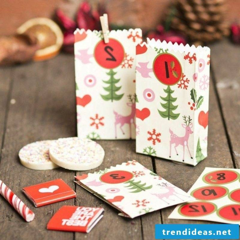 Advent calendar from originally decorated paper bags