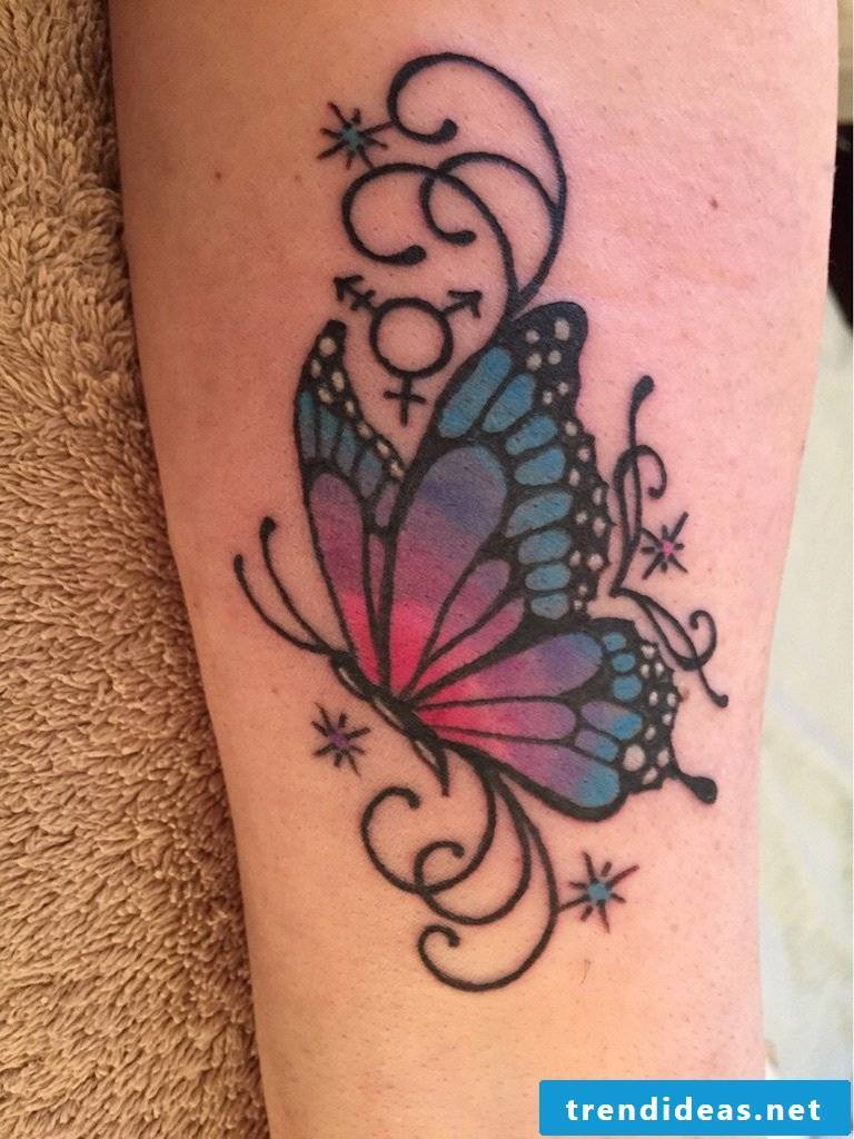 Tattoo butterflies women's back