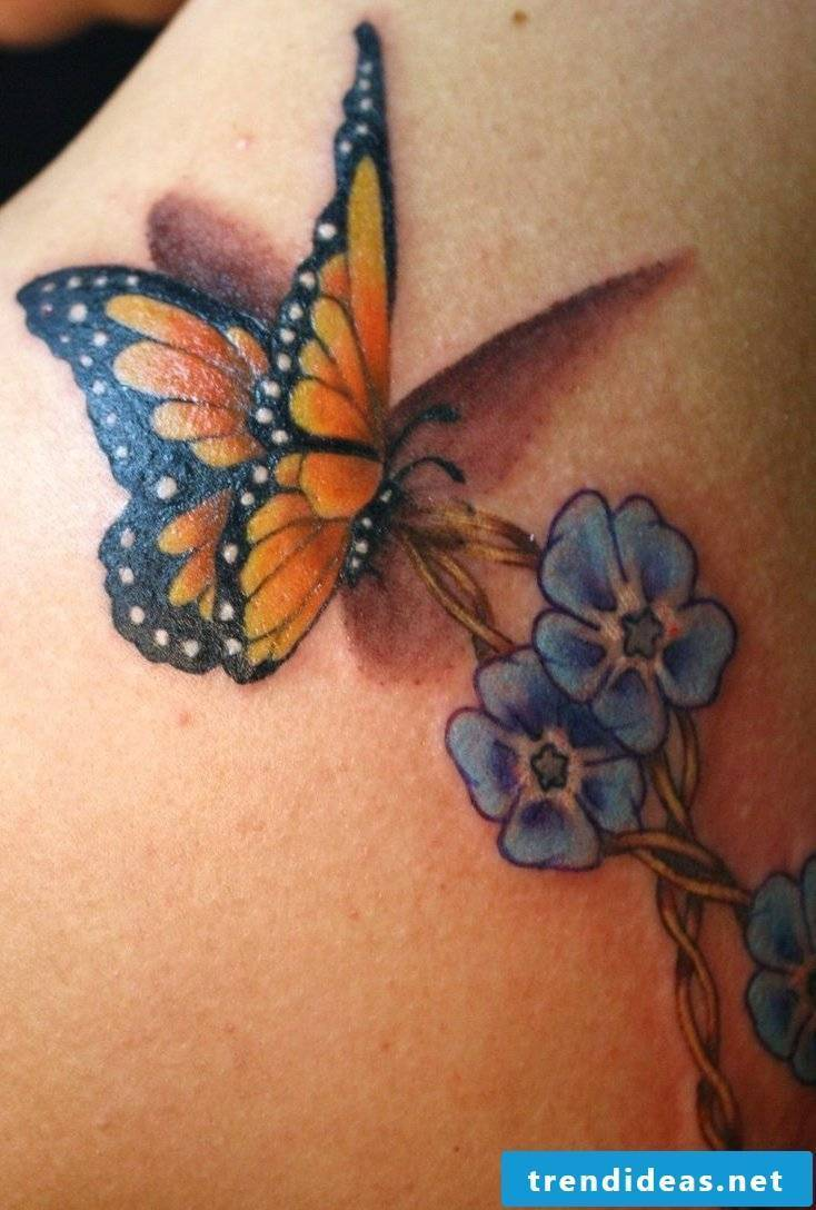 Tattoo butterflies women colored