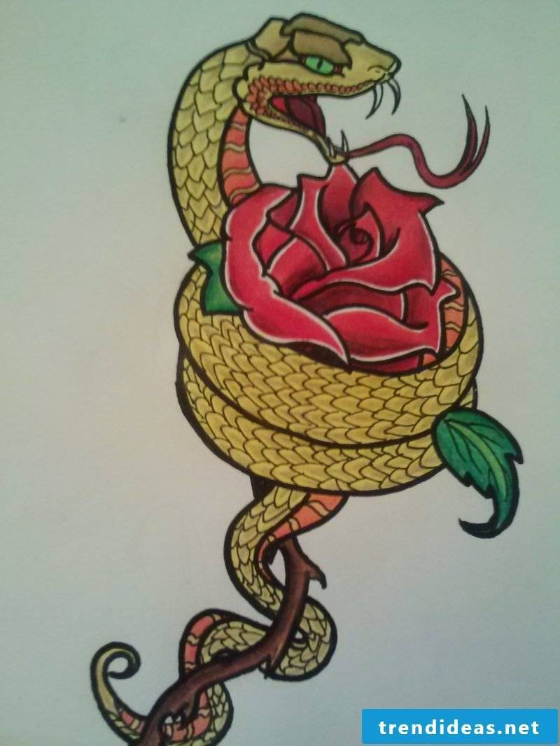 Snakes tattoo template
