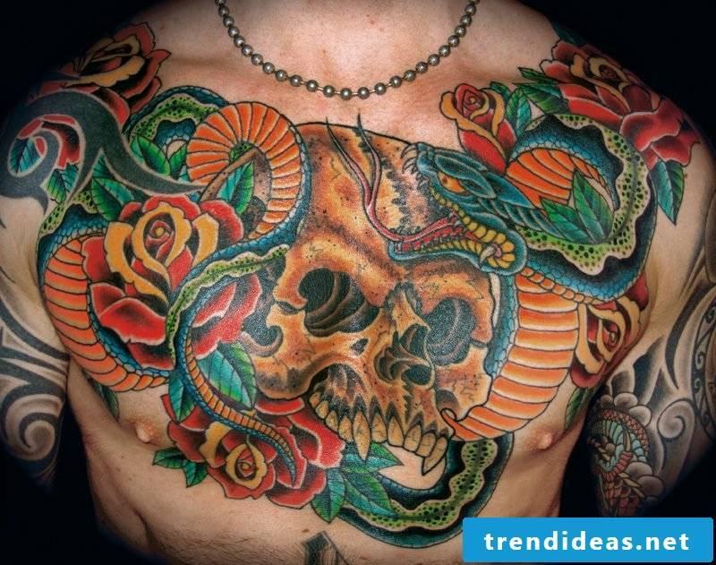 Snake tattoo with skull in Japanese design