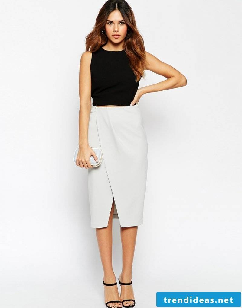 modern wrap skirt in white