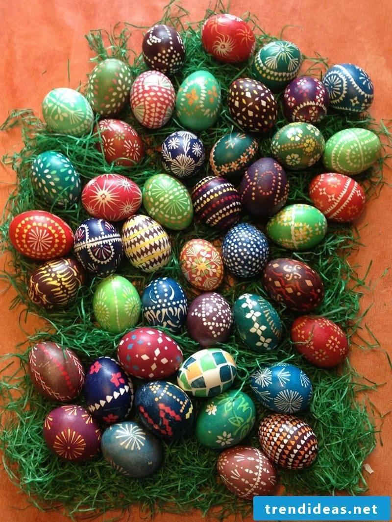 Sorbian easter eggs wax reserve technique