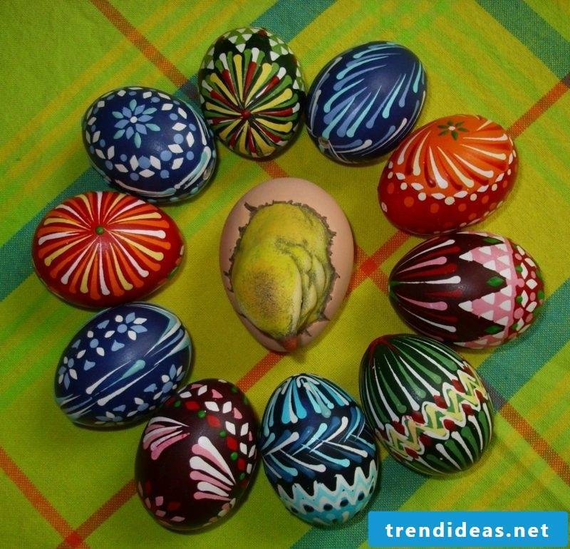 Sorbian Easter eggs painting techniques wax reserve technique