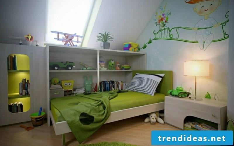 Children's room in white and green