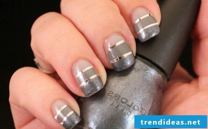 original fingernails design with decorative stripes