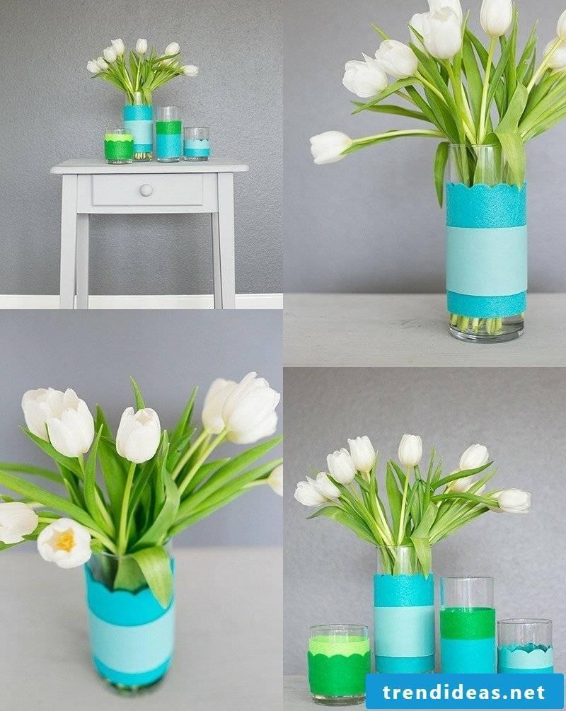 DIY ideas vase with paper decorate