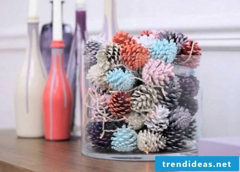 DIY ideas great table decor pine cones