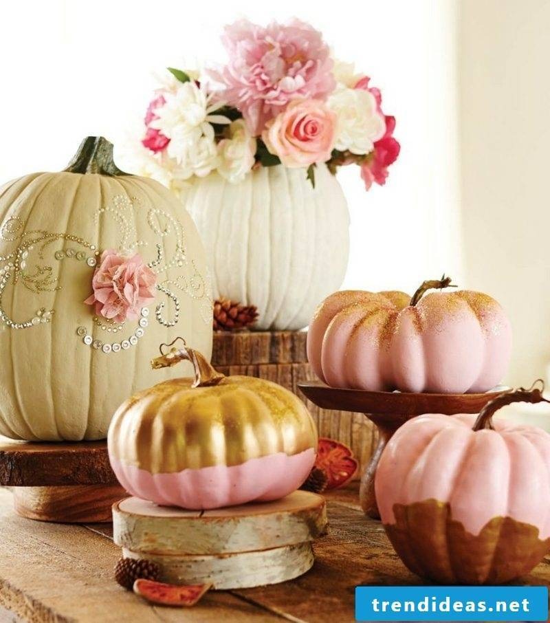 Autumn decoration of modern painted pumpkins