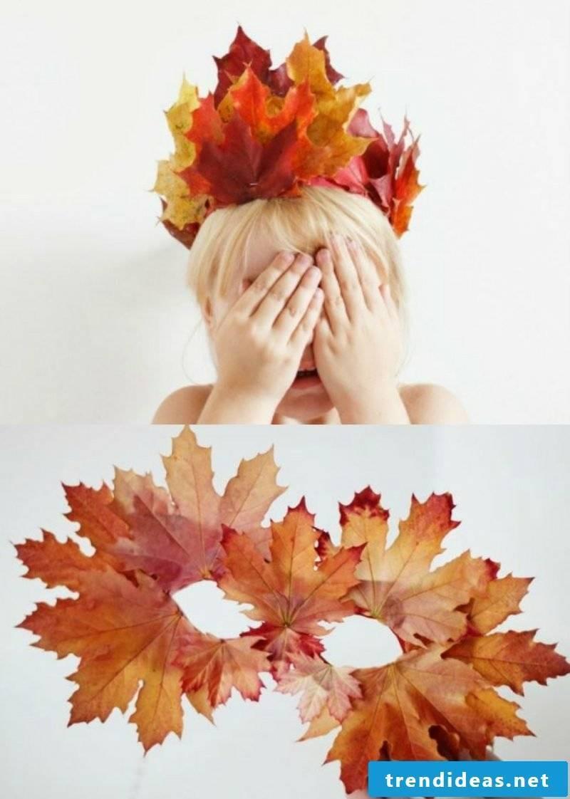 Crafts with children autumn crown mask