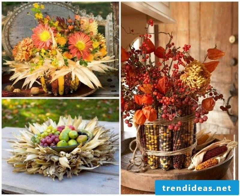 autumn table decoration with corncobs