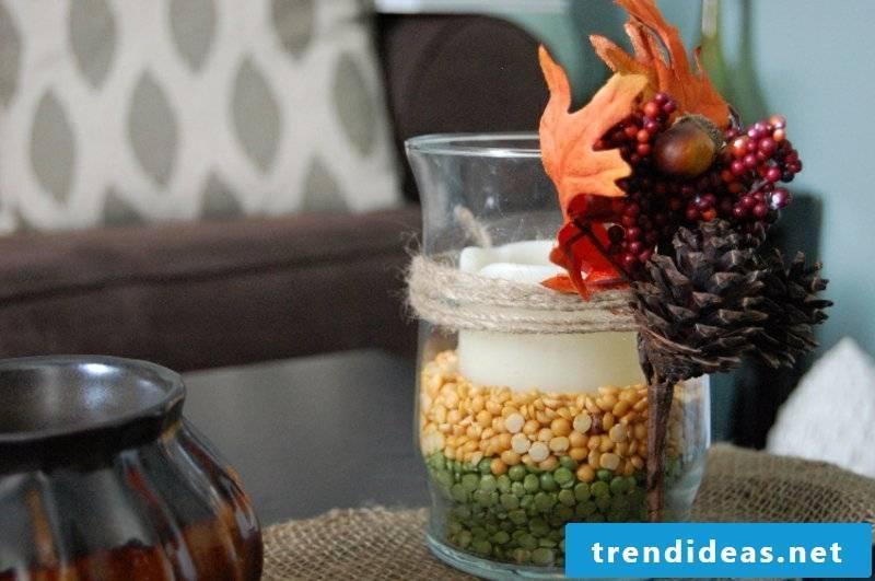 autumn table decoration DIY ideas candle holder