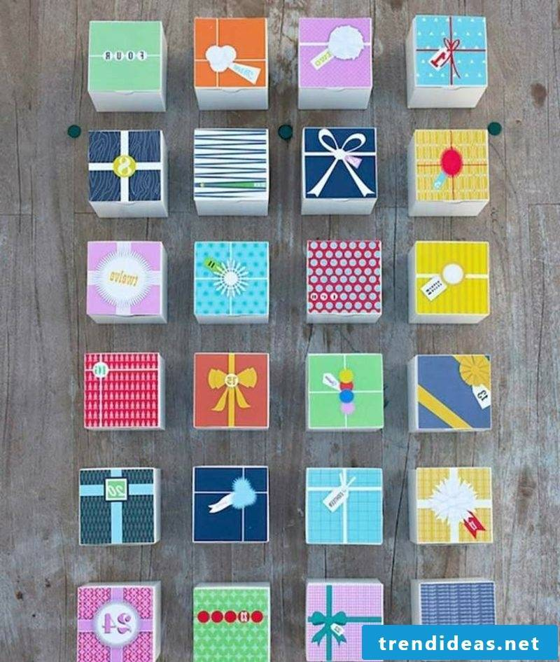 Advent calendar made from colorful boxes