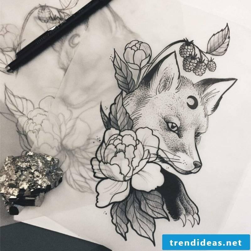 Fox tattoo flowers