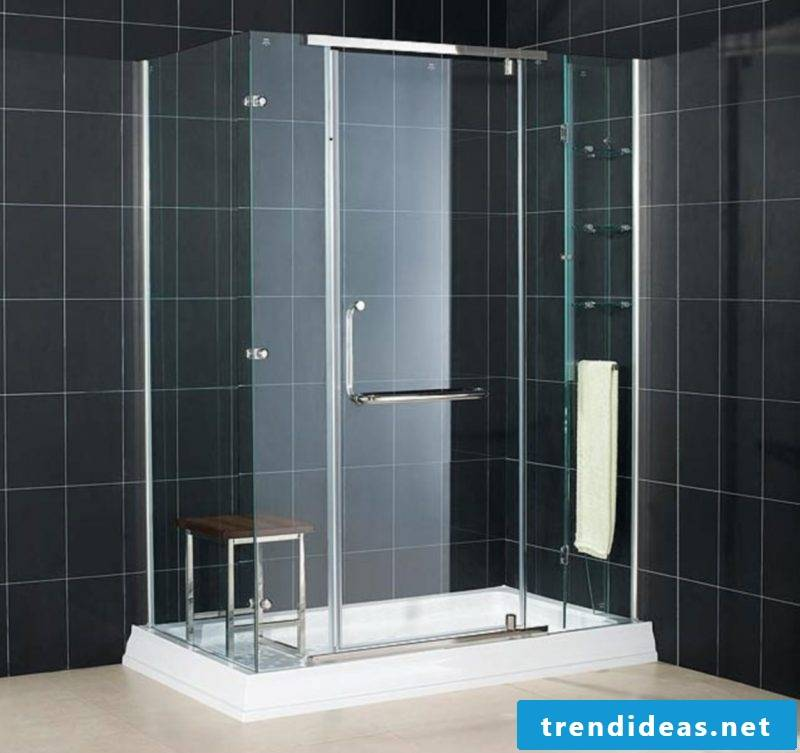 Badgetaltung ideas in black color and tiles combined with edelstah