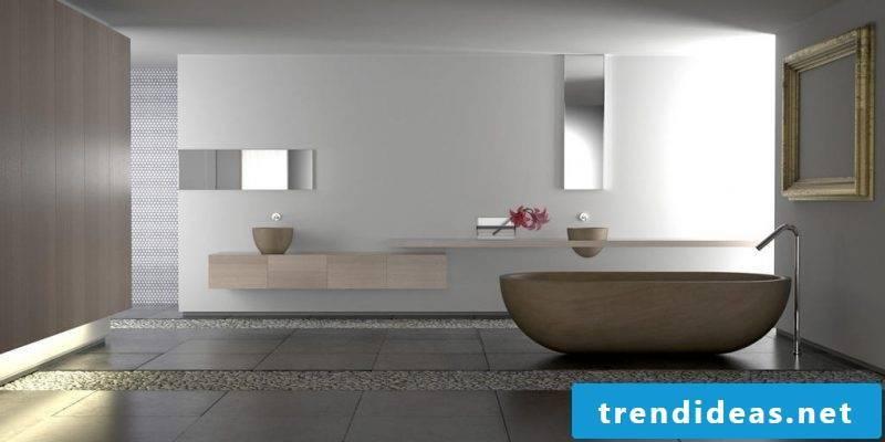 Badgetaltung ideas with gravel and wood bathtub