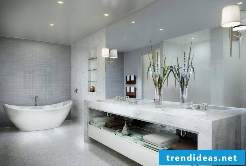bathroom design ideas in white optics with clear lines