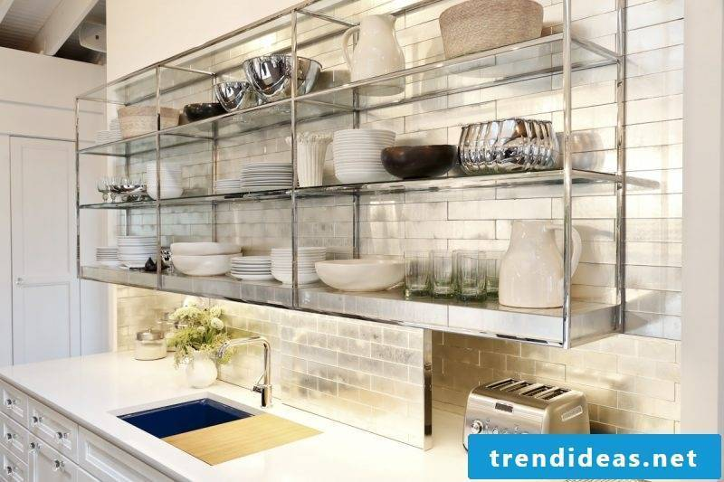 Glass shelves in kitchen