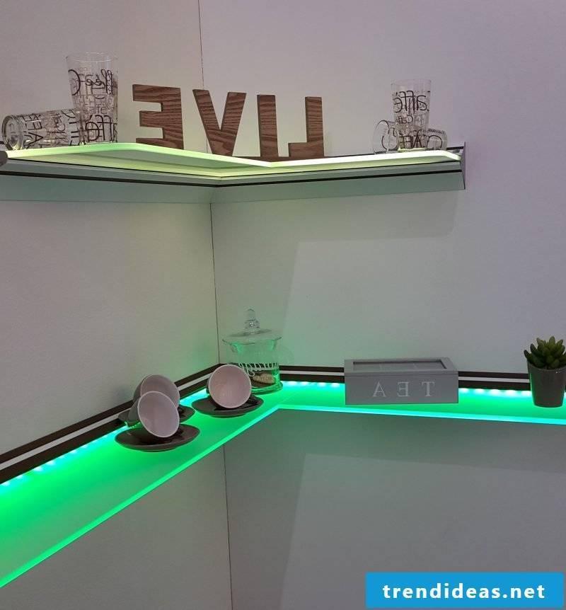 Glass shelves LED