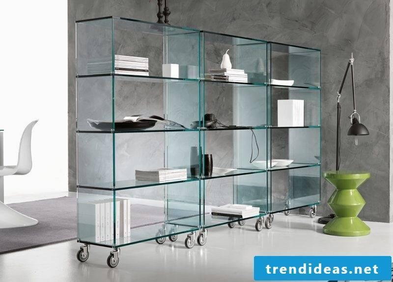 Glass shelves Office