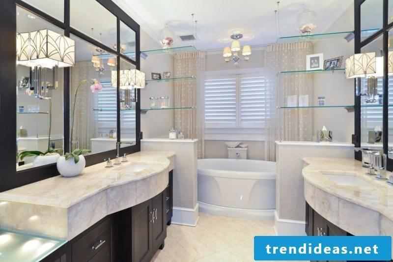 Glass shelves bathroom design