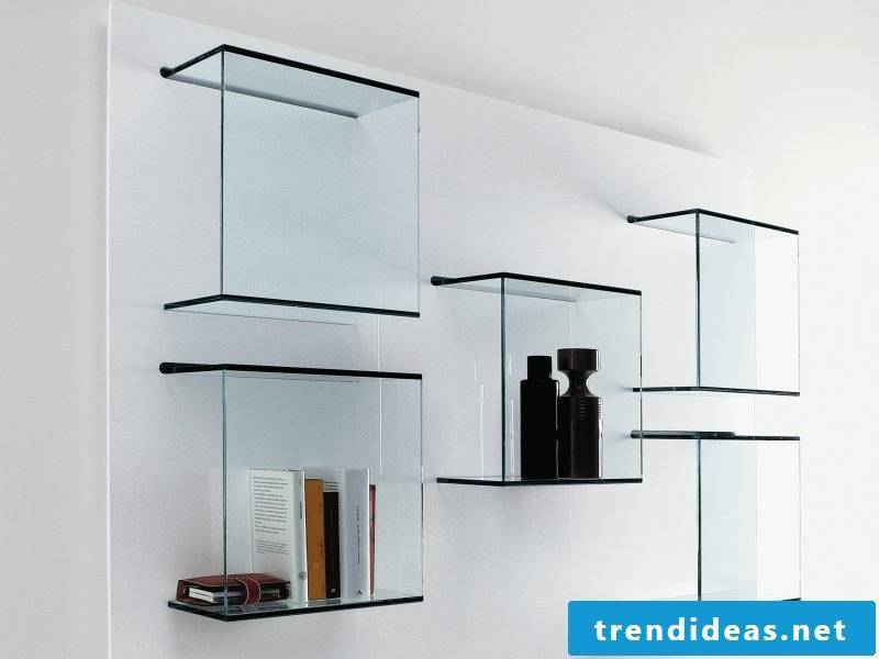 Glass shelves design