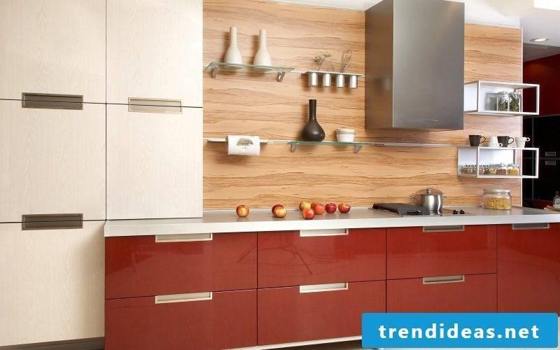 Glass shelves kitchen design