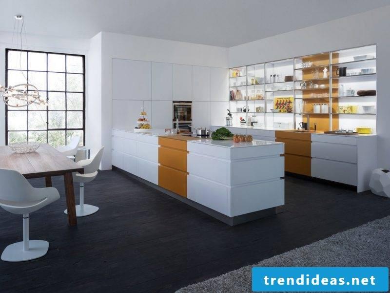Glass shelves kitchen