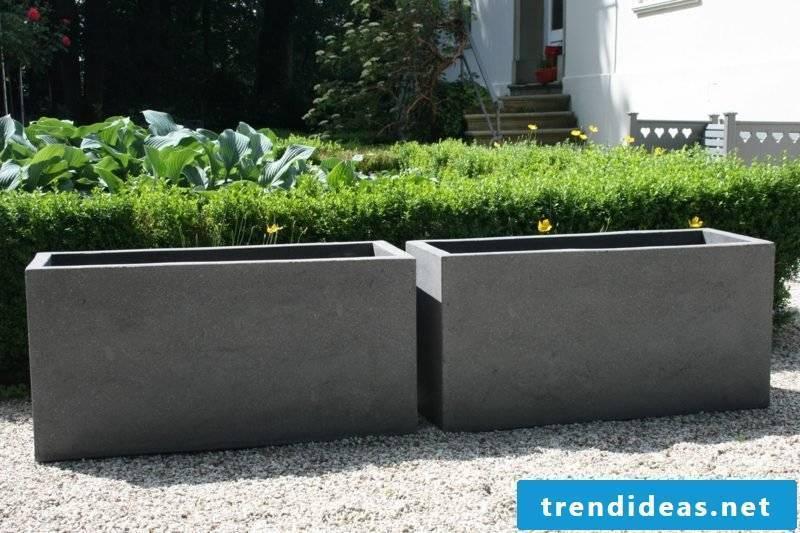Concrete planter plant trough fiber cement gray maxi