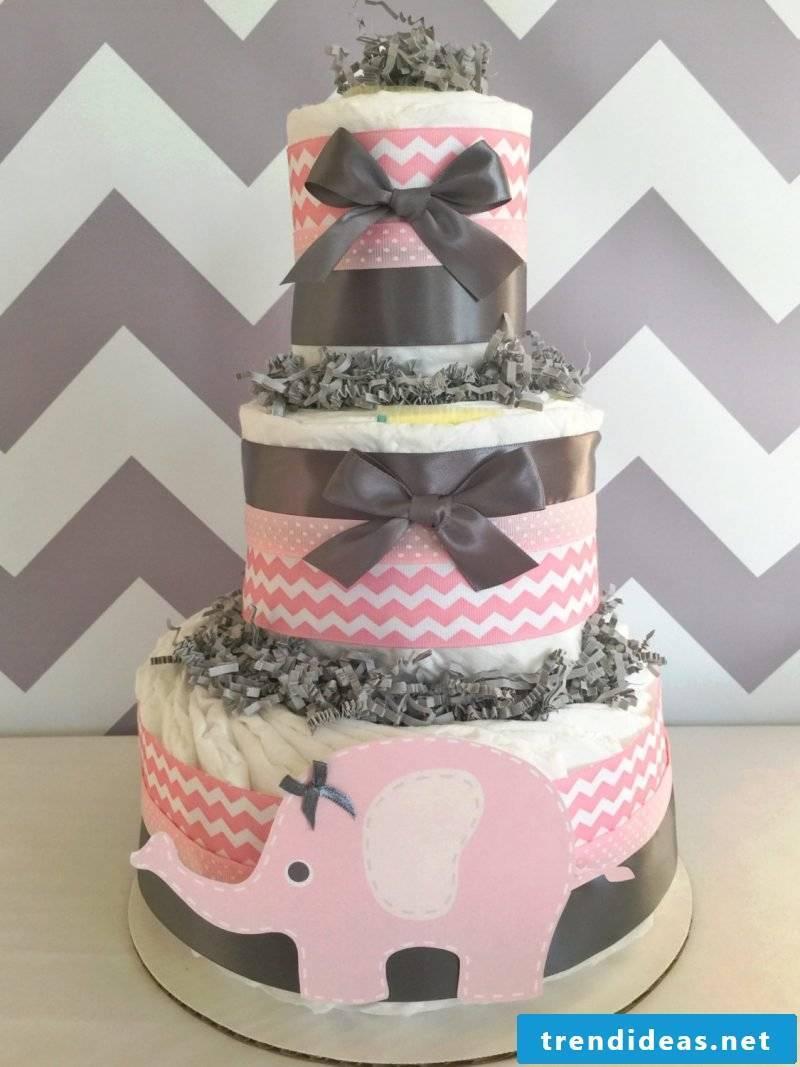 manual diaper cake-pink-girl