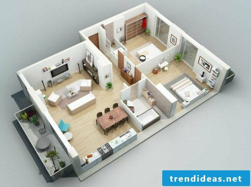 3d room plan mansion style two bedroom front lawn