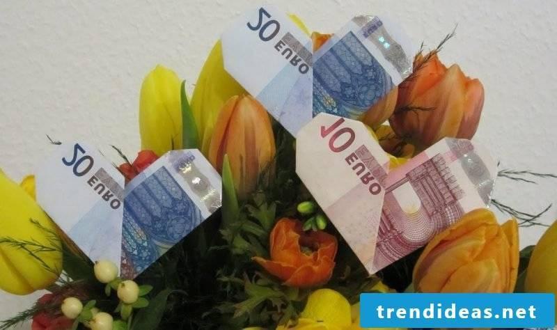 money heart fold colorful
