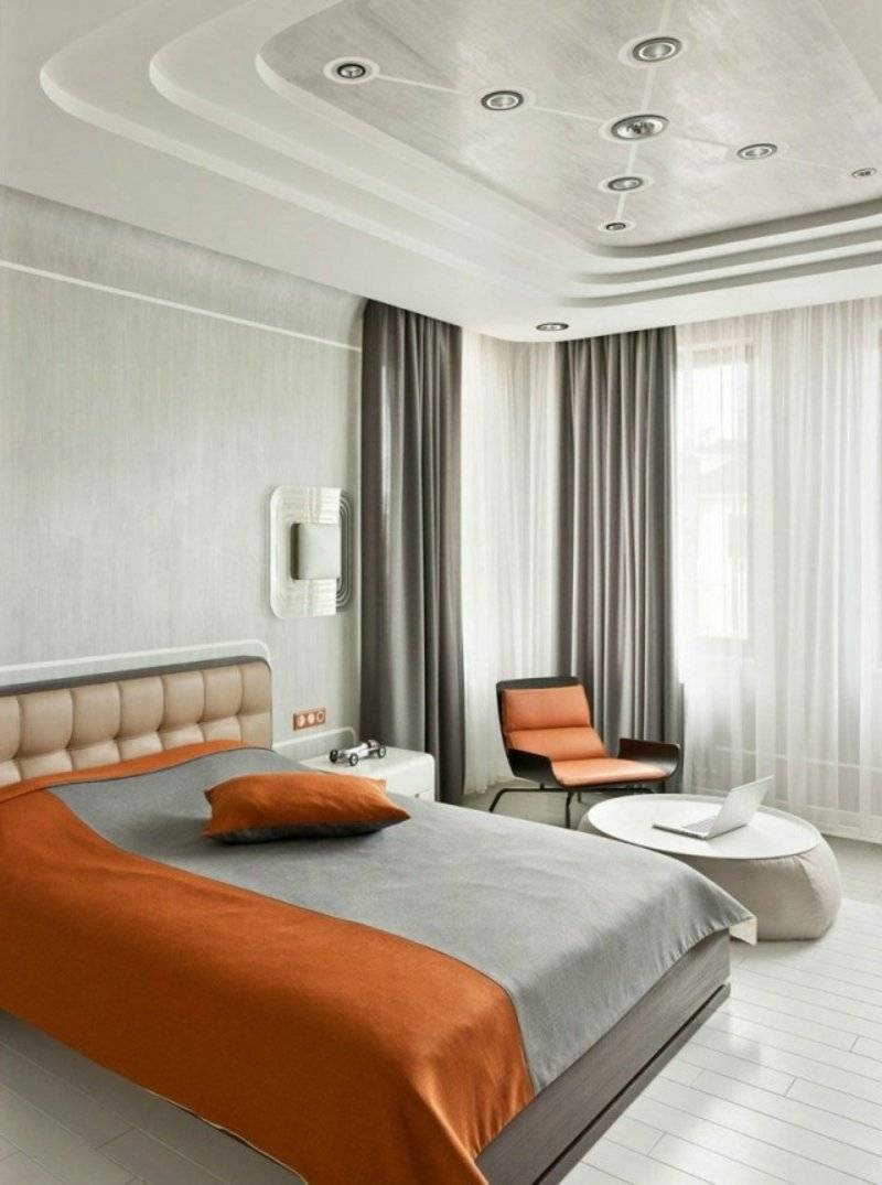 bedroom with original ceiling cladding and LED lighting