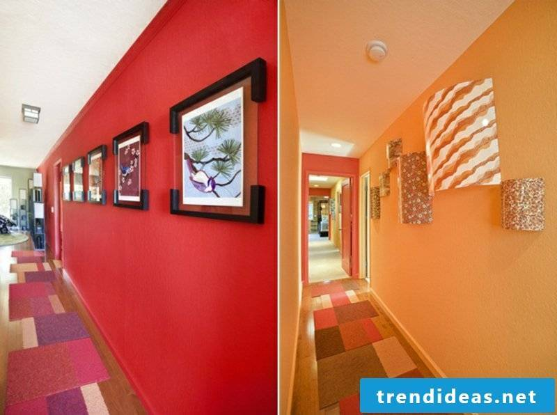 Color scheme in the corridor red and orange