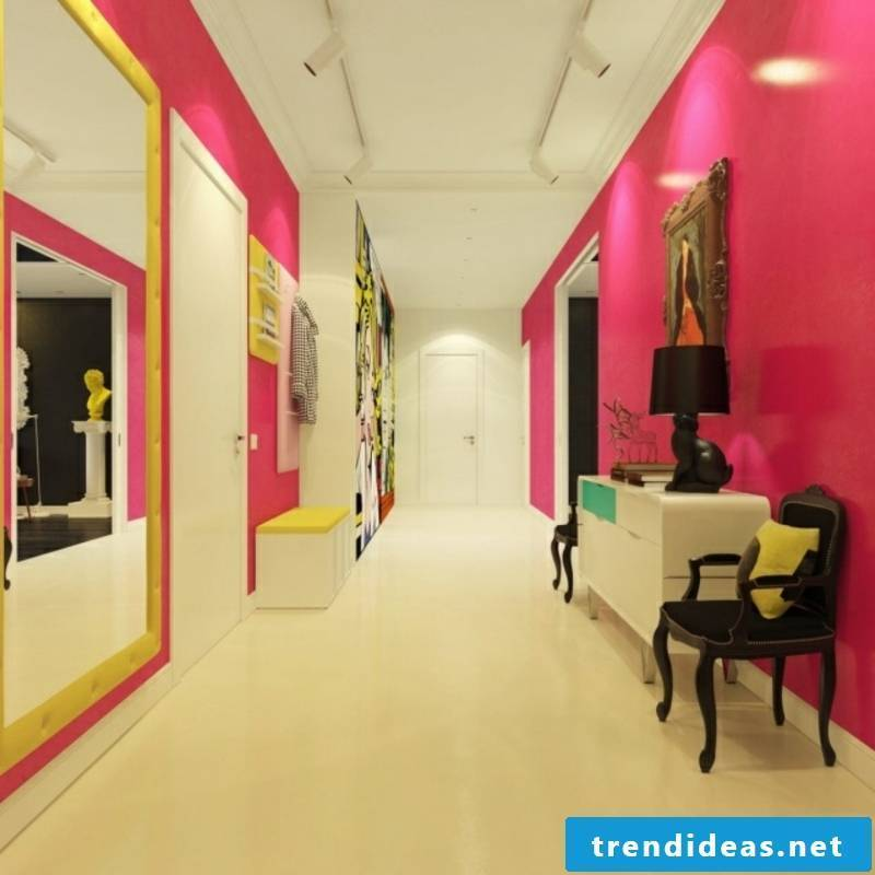 Hallway color scheme in pink and white