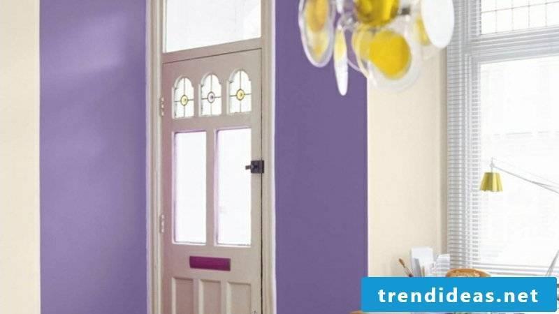 Hallway design Purple wall paint
