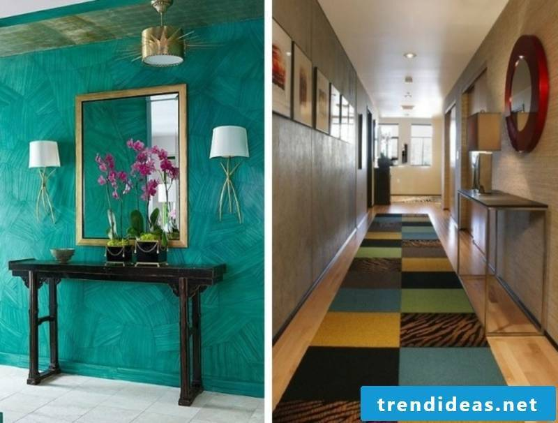 Hallway design in blue and yellow