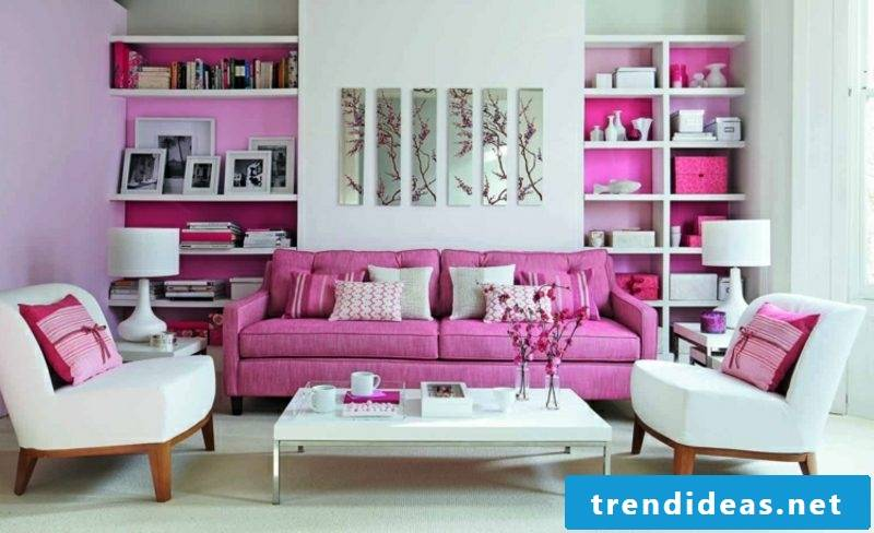 Trend colors 2017 wall design living room white pink
